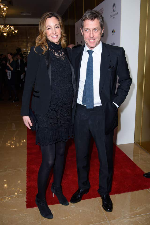 Hugh Grant and Anna Eberstein arriving for the London Critics' Circle Film Awards (Matt Crossick/PA)