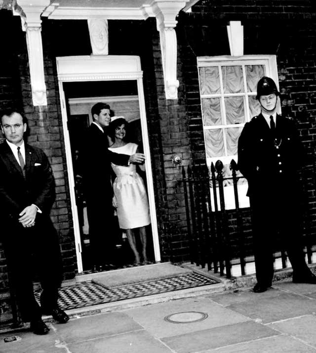 John Kennedy and his wife Jacqueline at Downing Street