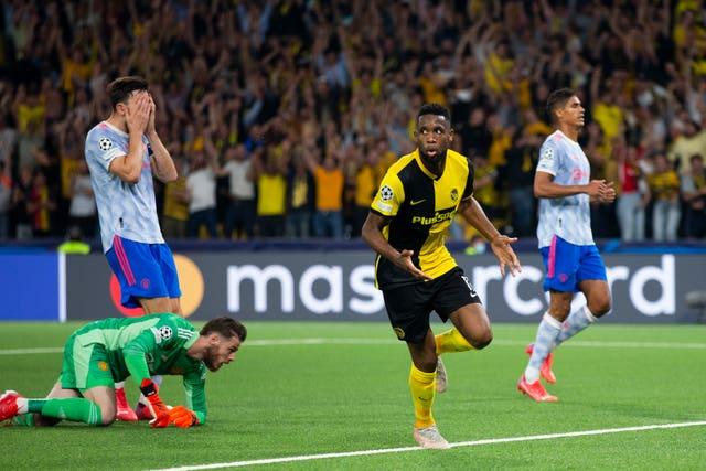 Jordan Siebatcheu celebrates scoring Young Boys' late winner against United