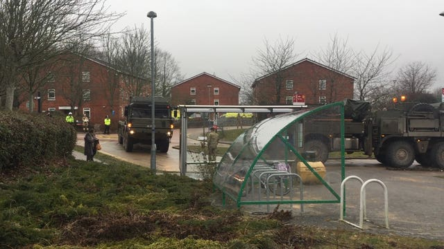 Military vehicles at Salisbury District Hospital (Henry Vaughan/PA)