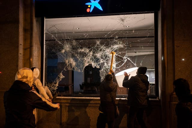 A bank's window is smashed
