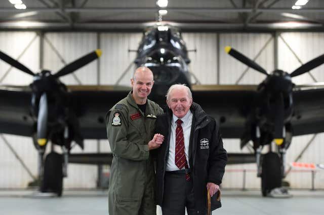 Commanding officer of 617 squadron, Wing Commander John Butcher with Johnny Johnson (Joe Giddens/PA)