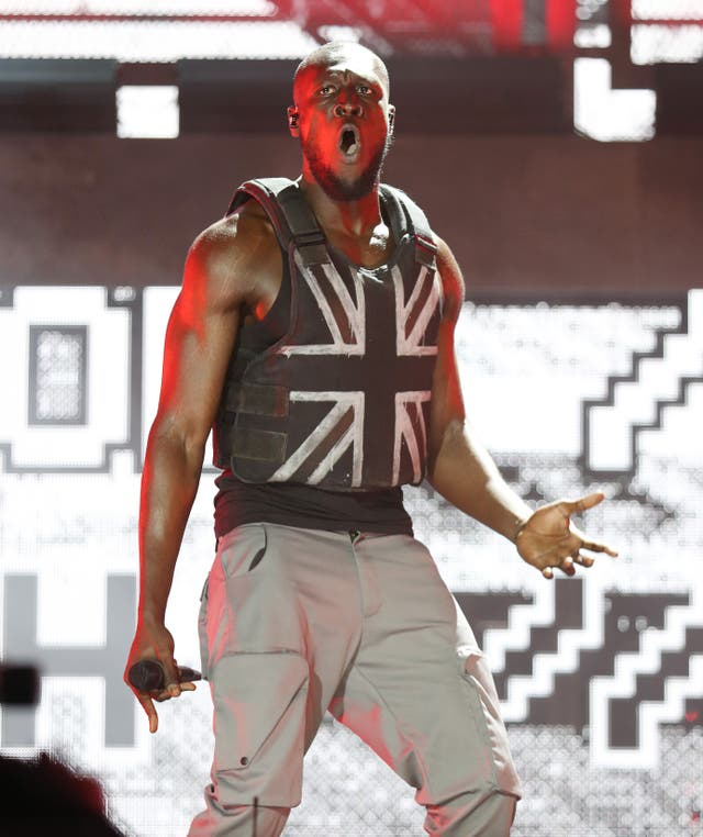 Stormzy performing on the Pyramid Stage