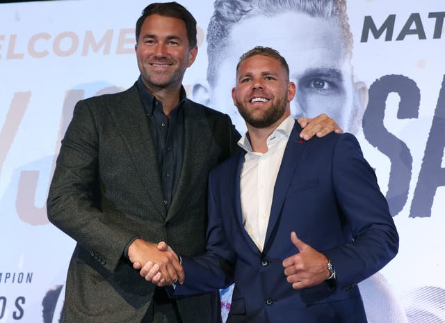 Promoter Eddie Hearn, left, was left bemused by Saunders' comments (Yui Mok/PA)