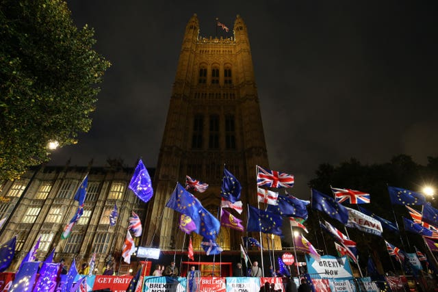 Protest flags outside the Palace of Westminster