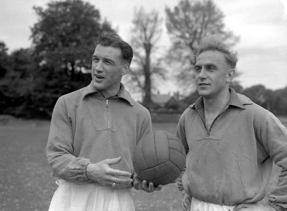 Nat Lofthouse, left, with England captain Billy Wright.