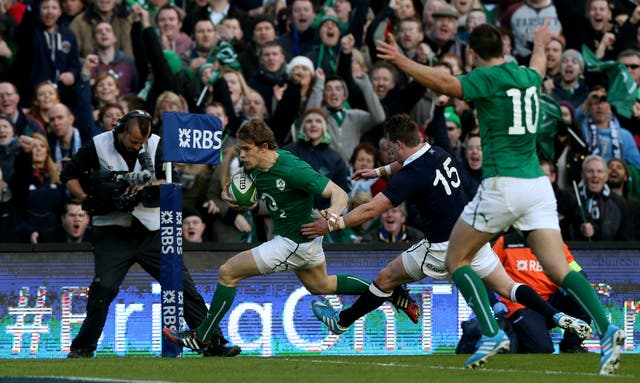 Andrew Trimble, left, helped Ireland cope without captain Paul O'Connell in 2014