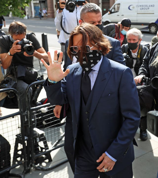 Actor Johnny Depp arrives at the High Court in London