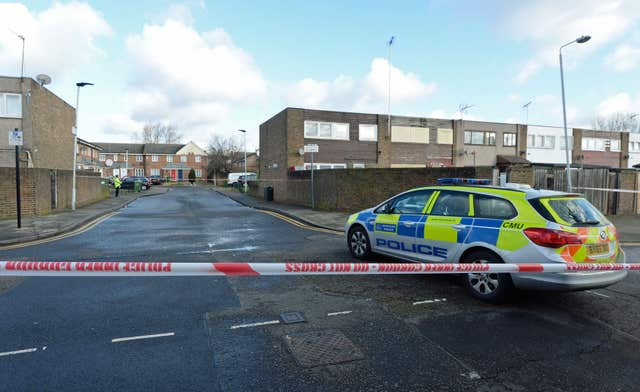 Police close to the scene in Goldwing Close, Canning Town (Kirsty O'Connor/PA)