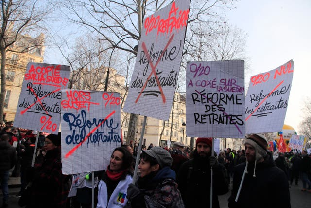 Teachers demonstrate against the proposed pension bill in Paris