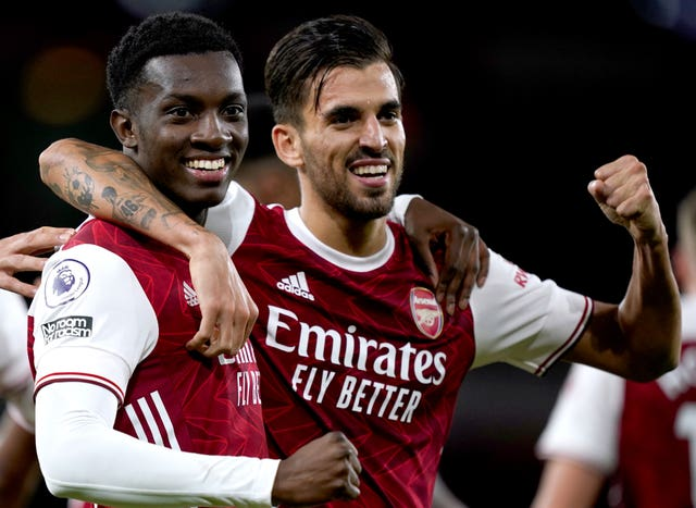 Ceballos and Eddie Nketiah celebrated together in a show of unity following their own altercation earlier in the season.