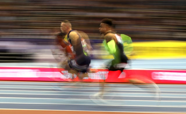 Great Britain's Richard Kilty during the Men's 60 Metres race during the Muller Indoor Grand Prix at Arena Birmingham