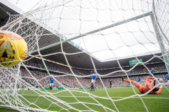 The ball hits the net after Ntcham puts Celtic in front