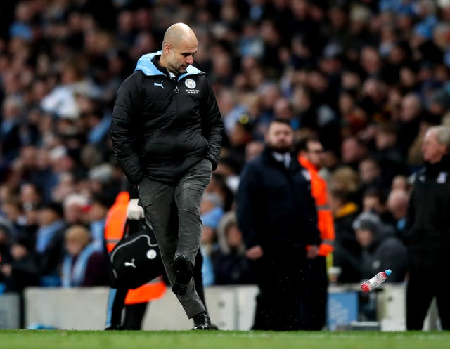 Manager Pep Guardiola kicked a bottle after Fernandinho scored an own-goal to give Crystal Palace a draw
