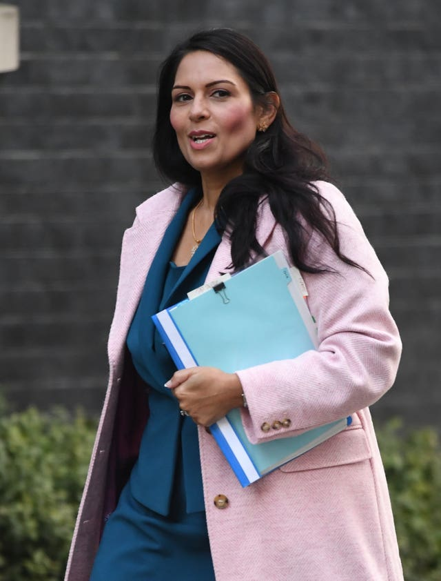 Home Secretary Priti Patel arrives for a Cabinet meeting in Downing Street