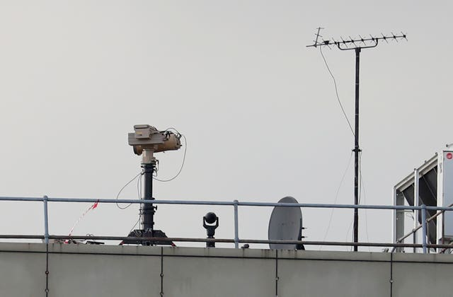 Counter drone equipment deployed on a rooftop at London Gatwick airport (Gareth Fuller/PA)