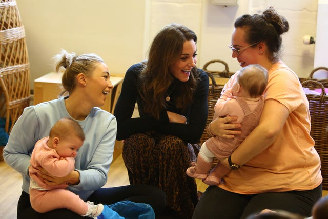 The Duchess of Cambridge with mothers and babies during her visit