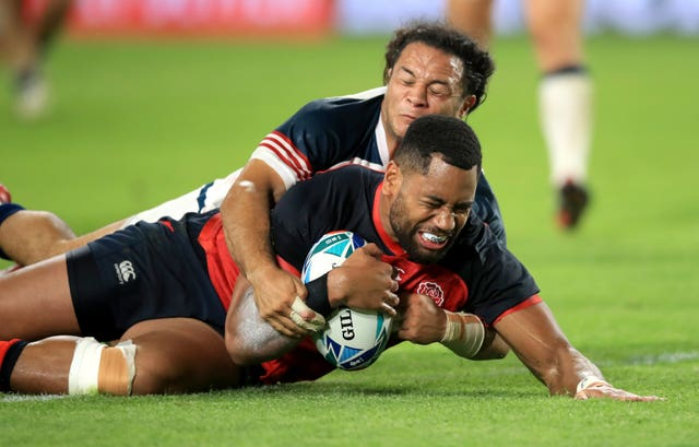 Joe Cokanasiga scored a second-half double as England ran in seven tries against the United States