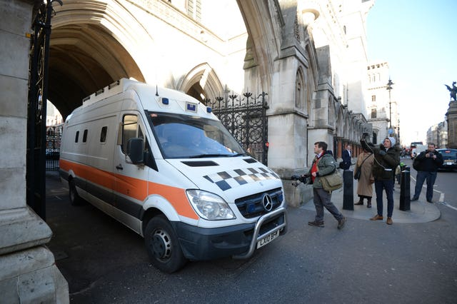 The prison van containing John Worboys leaves the Royal Courts of Justice in London (Kirsty O'Connor/PA)