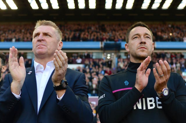 Aston Villa boss Dean Smith, left, and assistant John Terry were victorious in their first game