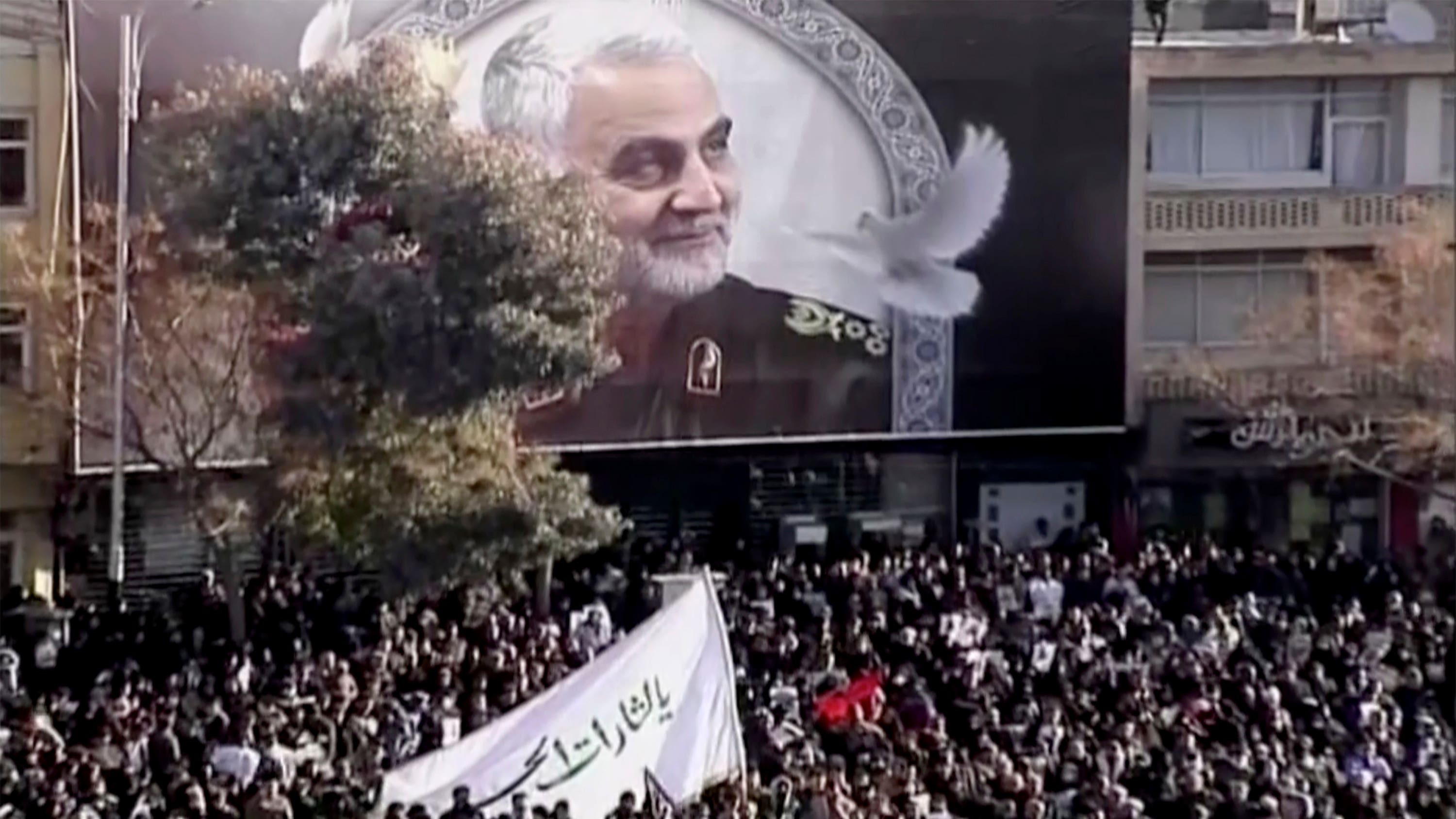 Mourners gather to pay their respects to General Qassem Soleimani in Kerman, Iran