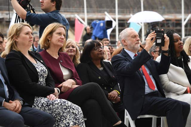 Northern Ireland secretary Karen Bradley (l to r), Home Secretary Amber Rudd, shadow home secretary Diane Abbott, Labour leader Jeremy Corbyn and shadow minister for women Dawn Butler at the unveiling of the statue (Stefan Rousseau/PA)