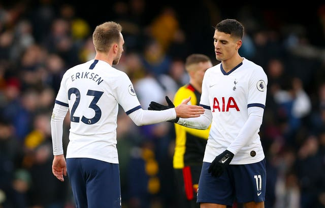 The departure of Christian Eriksen, left, means Erik Lamela is the last remaining member of the 'Magnificent Seven'