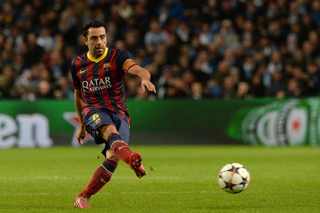 Xavi playing for Barcelona