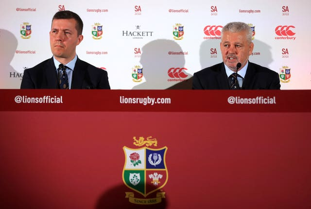 British and Irish Lions head coach Warren Gatland (right) and managing director Ben Calveley (left)