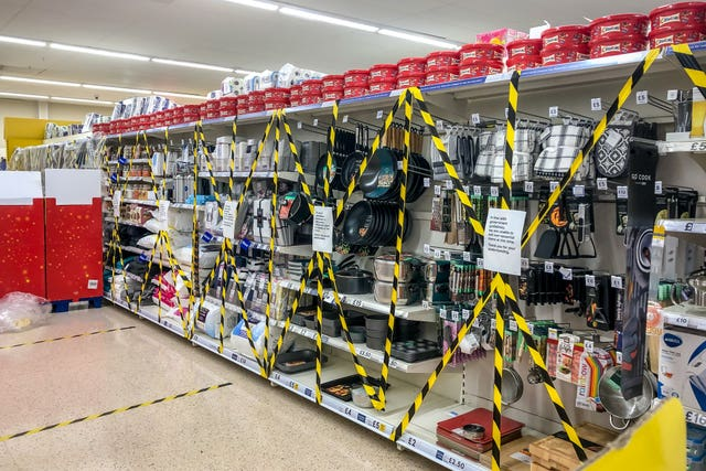 Items cordoned off in a supermarket near Cardiff (Ben Birchall/PA)