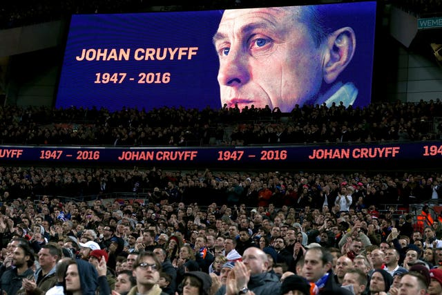 The Wembley crowd hold applause in the 14th-minute of England's 2016 friendly with Holland to commemorate Johan Cruyff, the Dutch footballer and manager who had recently died.