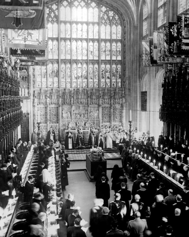 The funeral of King George VI at St George's in 1952 (PA)