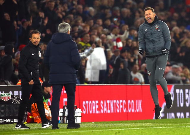 Southampton manager Ralph Hasenhuttl celebrated the victory at full-time