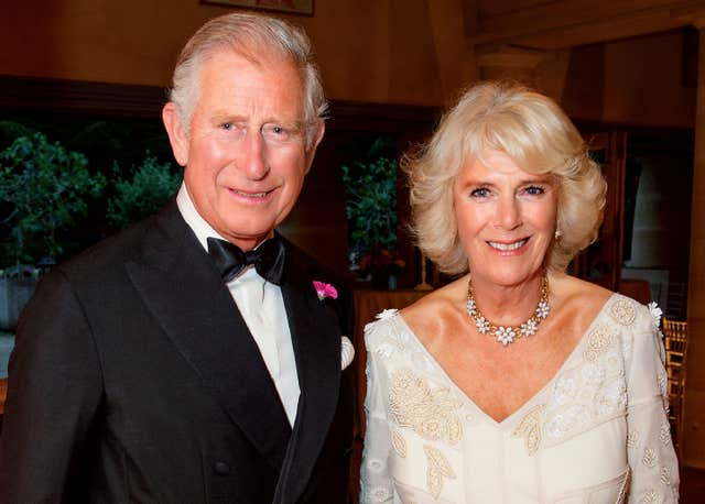 The picture shows the royal couple in the Orchard Room during the private 70th birthday party of The Duchess of Cornwall at Highgrove on Saturday July 15 2017 (Hugo Burnand)