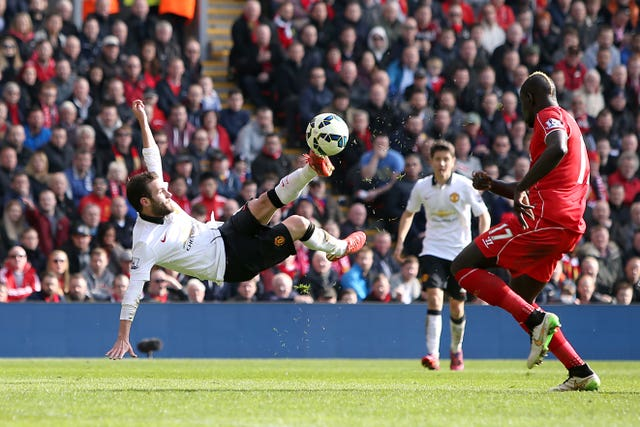 Juan Mata's second goal at Anfield in 2015 was a spectacular effort