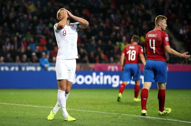 England suffered their first qualifying defeat in a decade against the Czech Republic