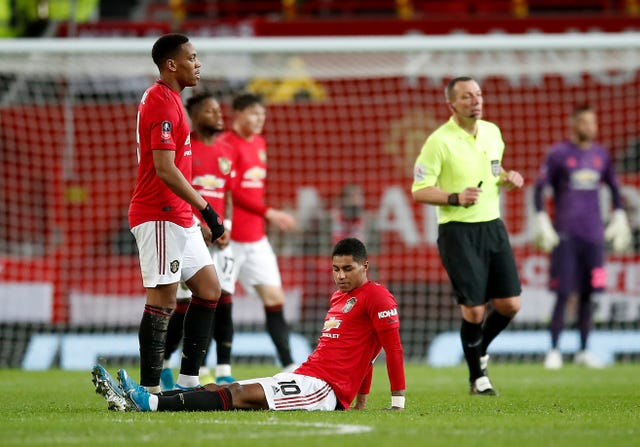 Rashford came off injured in United's FA Cup win over Wolves on January 15.