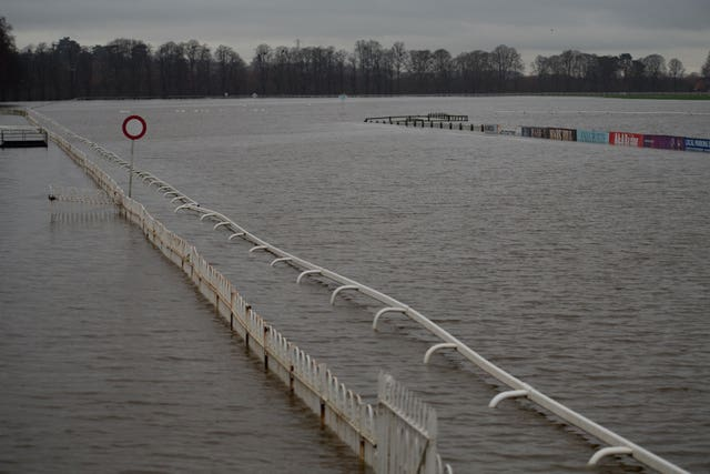 Flood water covers the racecourse at Worcester after heavy rain (Jacob King/PA)