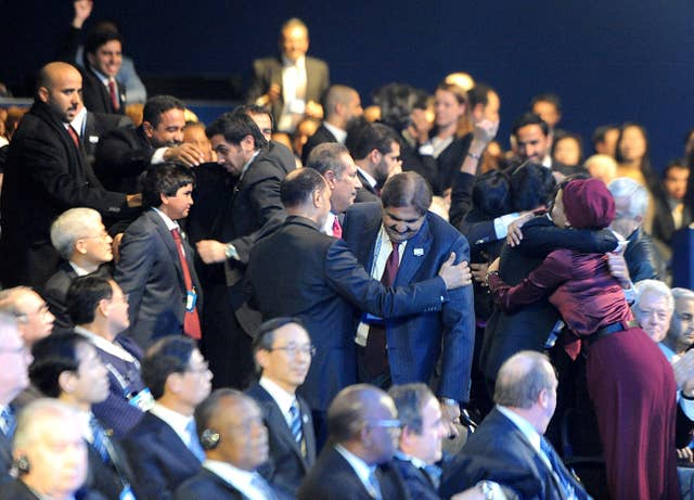 Qatari delegates celebrate in 2010 after their bid to host the 2022 World Cup was successful