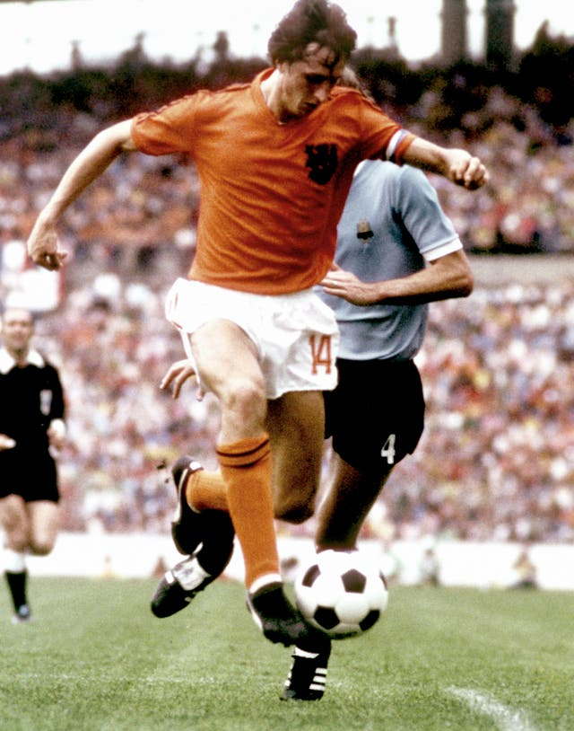 Johan Cruyff in action for Holland at the 1974 World Cup finals