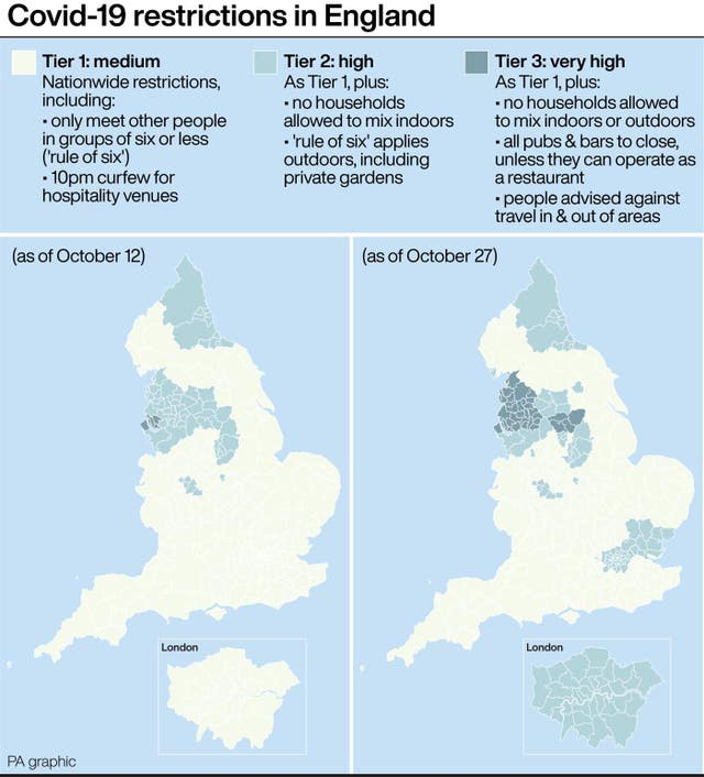 How Covid-19 restrictions in England have changed (as of October 27)