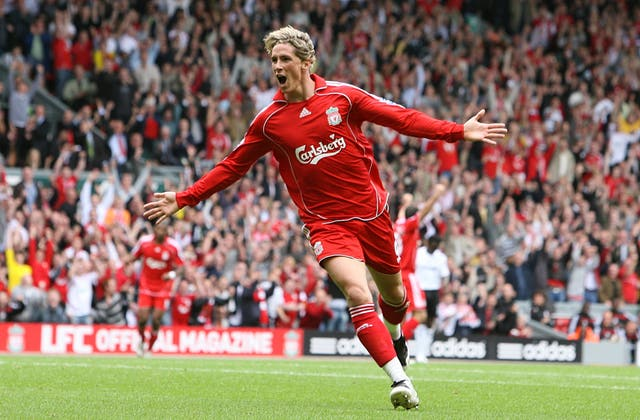 Torres celebrating one of the 33 goals he scored for Liverpool during his debut season