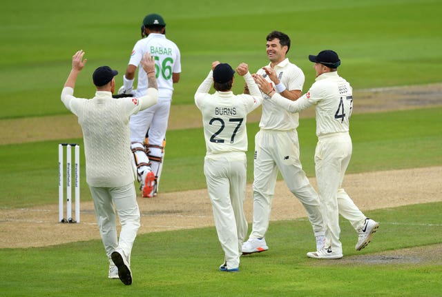 James Anderson celebrates the wicket of Babar Azam