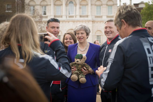 Theresa May attends the launch of the UK team for the Invictus Games Sydney 2018 (Stefan Rousseau/PA)