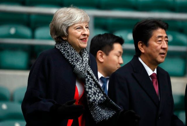 Mrs May and Mr Abe during their visit to Twickenham Stadium