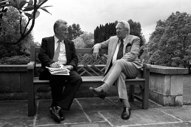 Former Conservative Prime Minister Edward Heath relaxes at his home near Salisbury Cathedral with Press Association political correspondent Chris Moncrieff