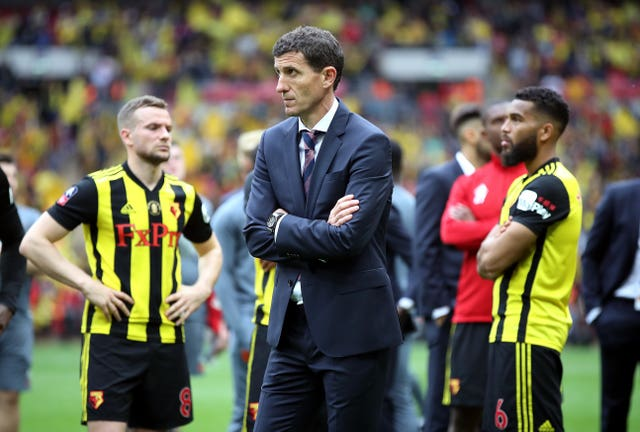 Watford manager Javi Gracia appears dejected after the final whistle