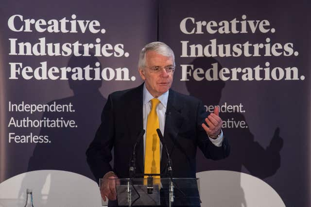 Sir John Major gave his speech at the Creative Industries Federation, (Dominic Lipinski/PA)