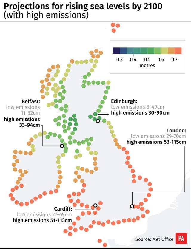 Map Of Uk 2100.Rising Sea Levels And Higher Temperatures Threaten Uk Experts Warn