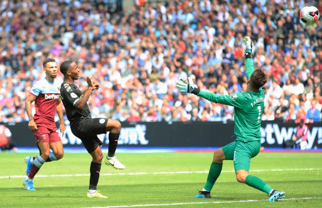 Raheem Sterling scored a hat-trick for Manchester City as they won 5-0 at the London Stadium
